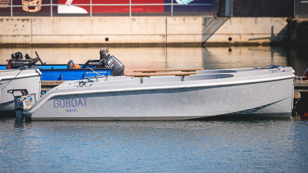 An image showing a GoBoat moored in Canary Wharf