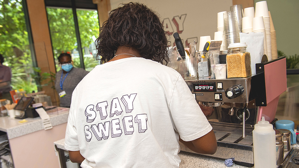 The bakehouse serves Lomond coffee