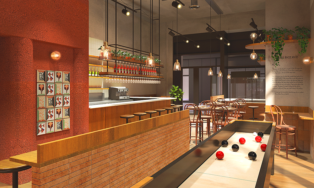 The Wood Wharf restaurant will feature table bocce