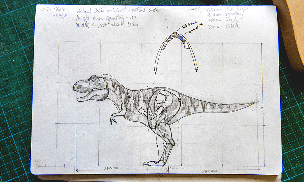 One of Charlie's sketches for the T-Rex